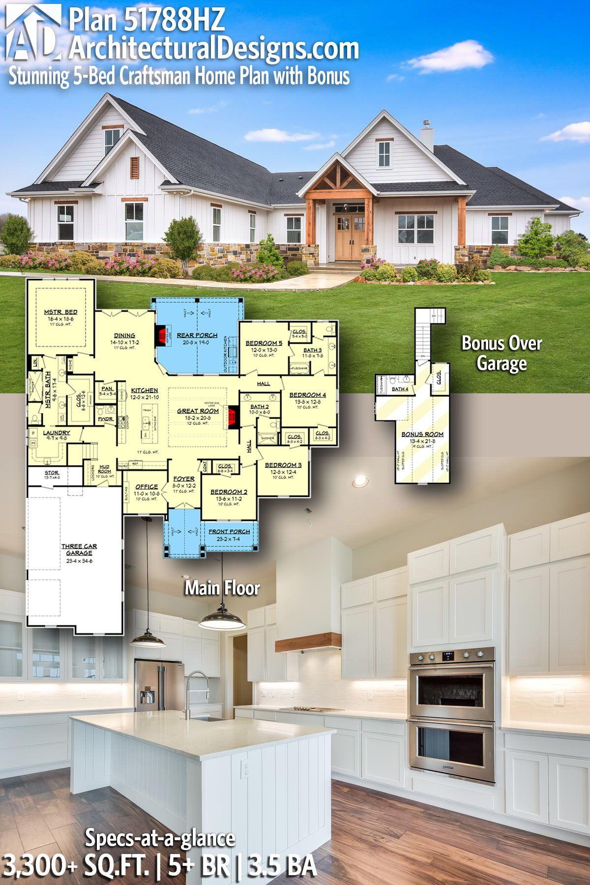 Plan hz stunning bed craftsman home plan with bonus