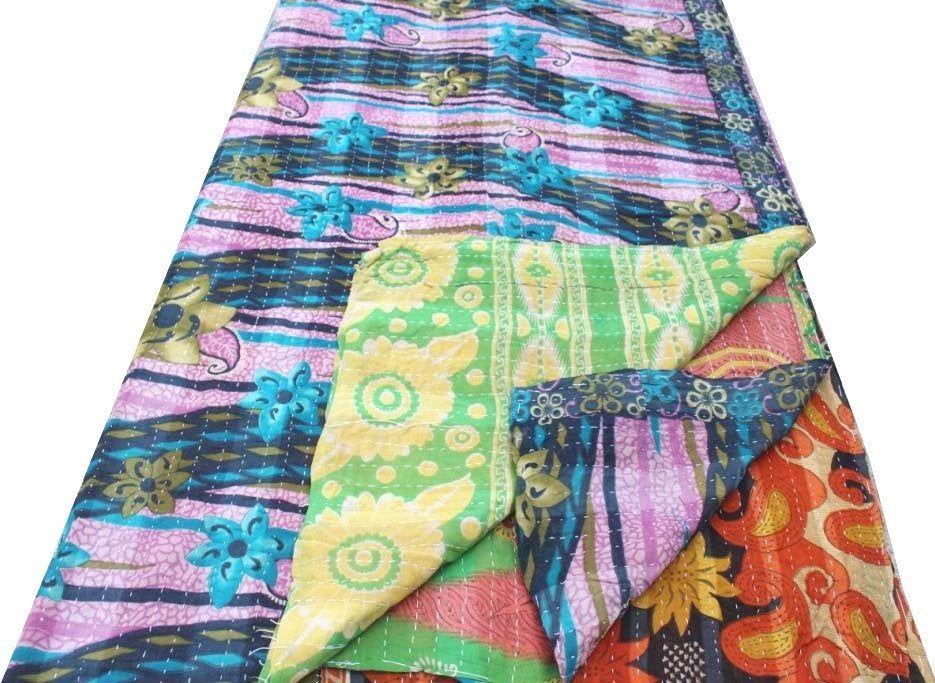 Green Patchwork Hand Embroidered Kantha Quilt Vintage Cotton Sari Kantha Blanket Twin Size Kantha Bedspread Handmade Kantha Throw
