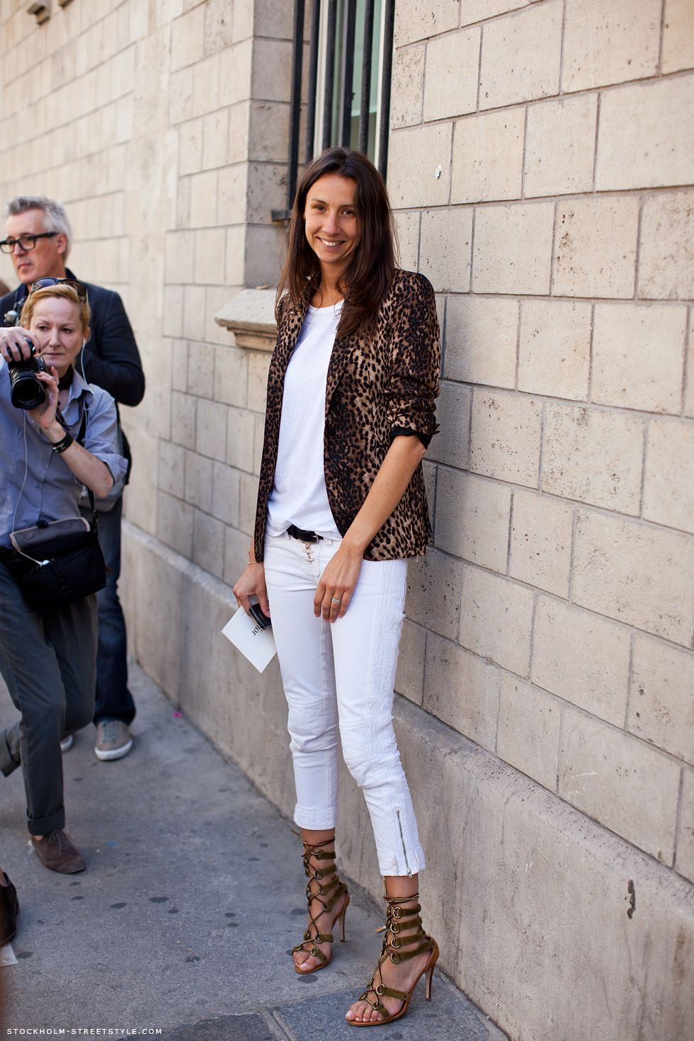 Total White Outfit with Leopard Animal Print Jacket and Gladiator Sandals - Spring/Summer Style -  #fashion #outfit