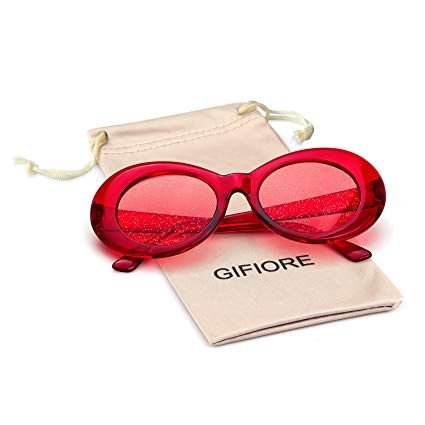 a60f9f586945 Amazon.com  Bold Retro Oval Mod Thick Frame Sunglasses Clout Goggles with  Round Lens