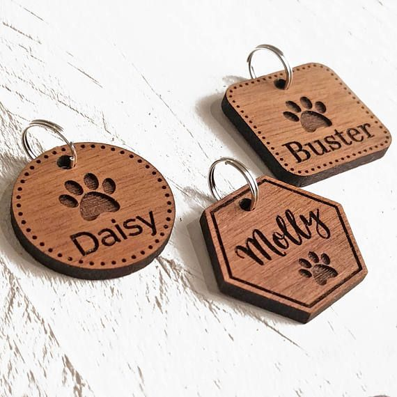 Pet Tags Dog Id Tag Custom Engraved Personalised Pet Tag Cat Id Tag Gift For Animal Lovers Walnut Wood Pet Tags Gifts For Pet Owners Engraved Pet