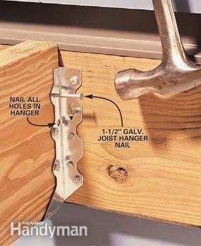 How To Install Joist Hangers Diy Building A Deck Shed