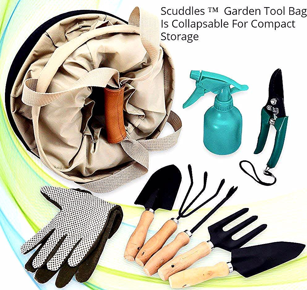 Garden Tools kit10 Gallon Collapsible Gardening Bag Comes with Planting Tools Shovel Rake Trowel Pruner Cultivator Shears 25 Oz Water Sprayer  HÜDKAN