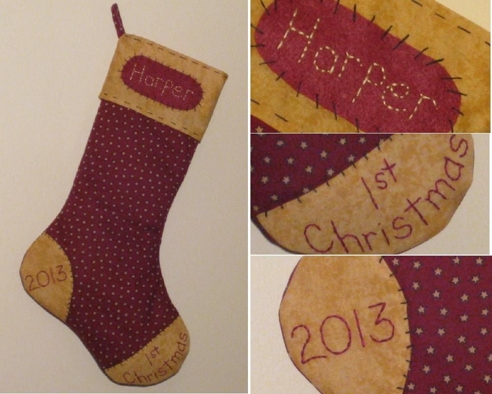 Personalized Baby's First Christmas Stocking - Maroon with Stars ...