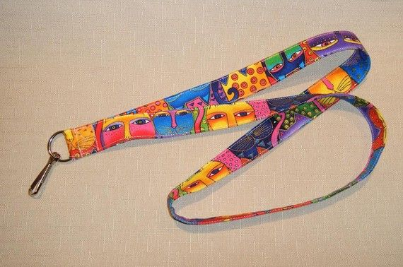 Laurel Burch cats bright   handmade fabric by doodlebugquilts (Accessories, Lanyard, Id, keychain, fabric, handmade, women, cats, laurel burch, bright, colorful)