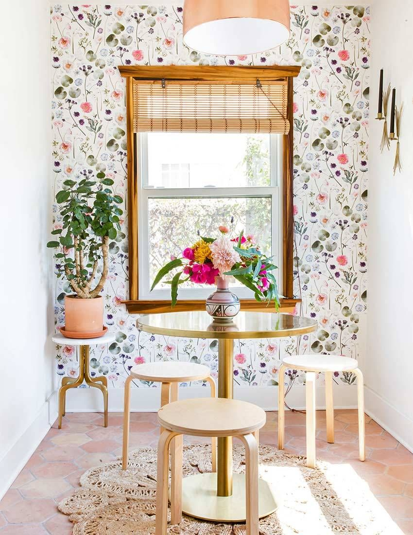 Kitchen Dining Space With Colourful Floral Wallpaper Decor Room