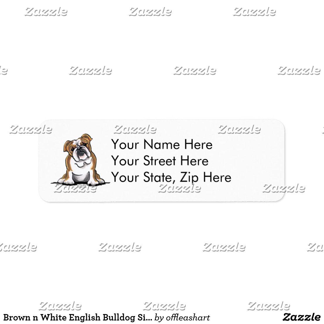 Brown N White English Bulldog Sit Pretty Label Zazzle Com