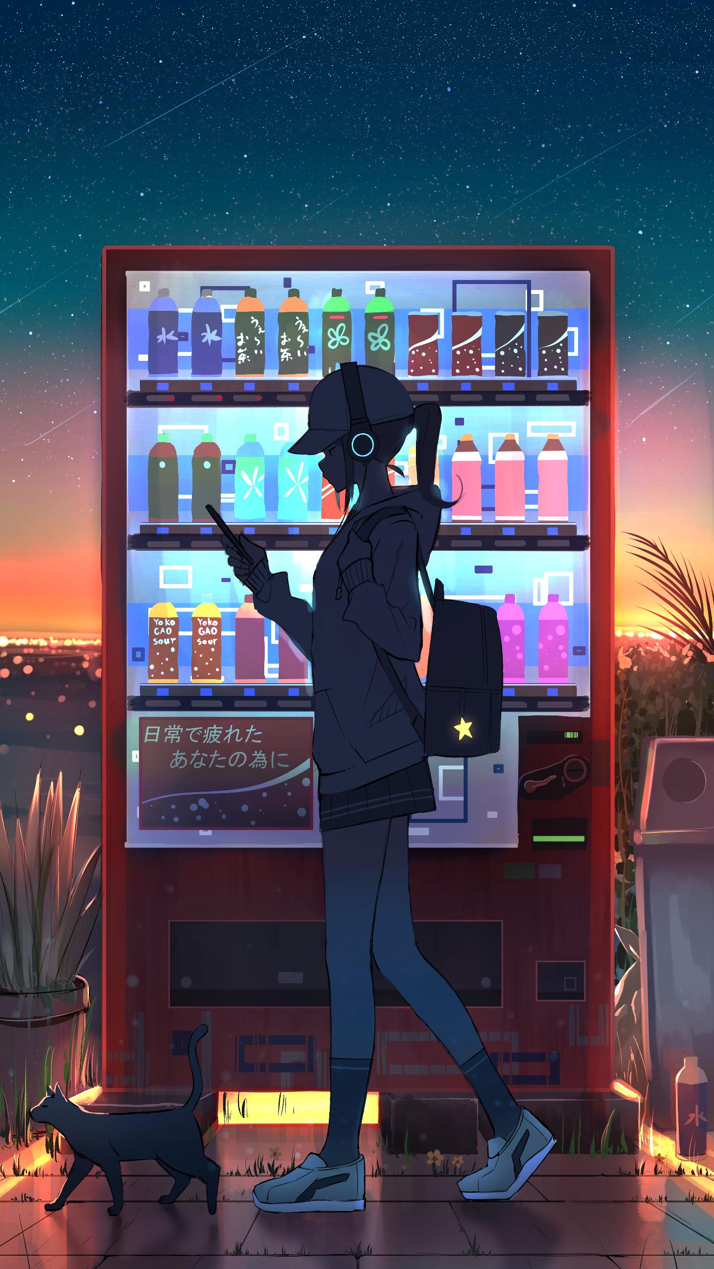 Vending Machine Original 1440x2560 Cool Anime Wallpapers Girls Cartoon Art Anime Art Girl