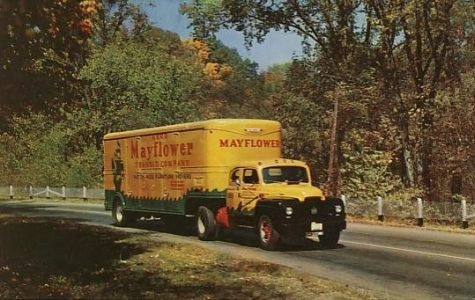 a mayflower moving company truck from the old days on a