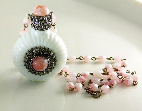 Vintage Czech Milk Glass Perfume Bottle Necklace, Mottled Peach with m – Vintage Lane Jewelry