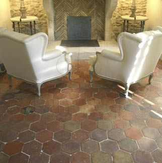 authentic provence pink terra cotta tiles reclaimed tomettes or hexagonal tiles - Terra Cotta Tile Apartment 2015