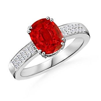 Angara Vintage Leaf Inspired Oval Solitaire Ruby Ring in Platinum ZKLLAjz9