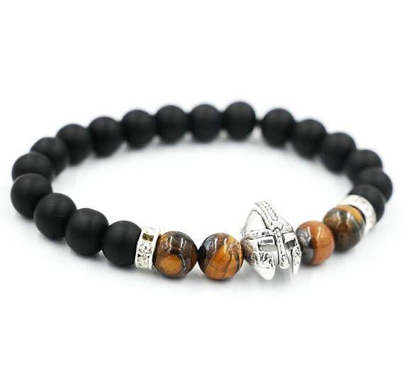 Magnifique bracelet homme perles de pierre agate noire matte