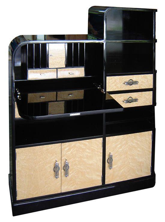 American art deco black lacquer birdseye secretary cabinet desk
