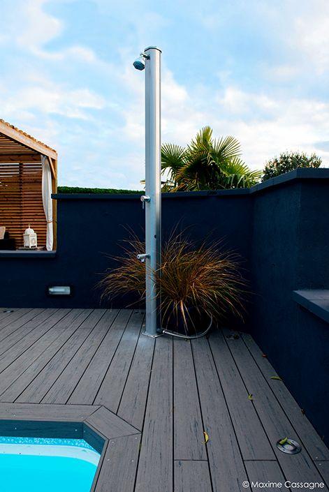 Douche Extérieure Design Mur Jardin Noir Terrasse Bois Composite Gris  Piscine Moderne