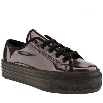 Womens Black Schuh Creep Platform Lo Metallic Flats Black Shoes For Kids