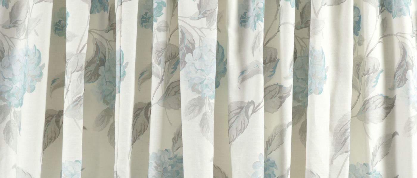Hydrangea Duck Egg Pencil Pleat Ready Made Curtains At Laura Ashley