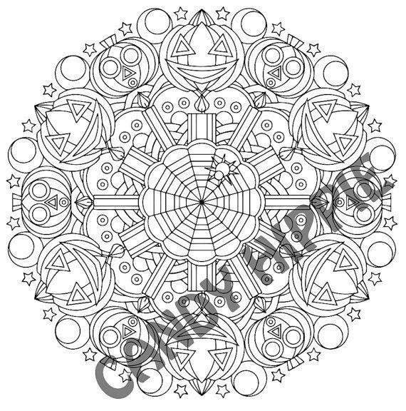 Halloween Mandala Coloring Page Whacko Jack O' by ...