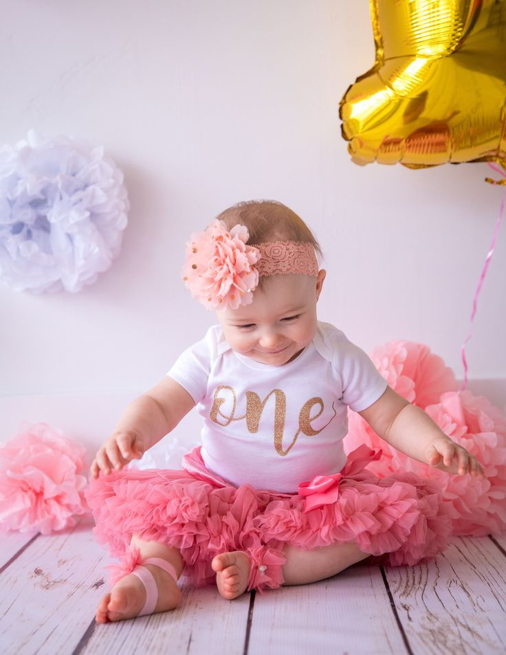Gold One Coral Pettiskirt First Birthday Outfit Peanut