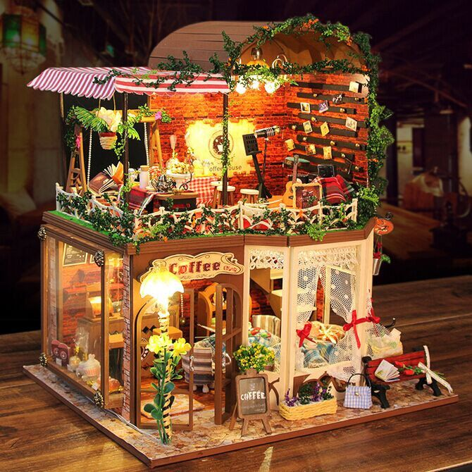 Hoomeda DIY Wood Dollhouse Miniature With LED Furniture Cover Coffee Shop