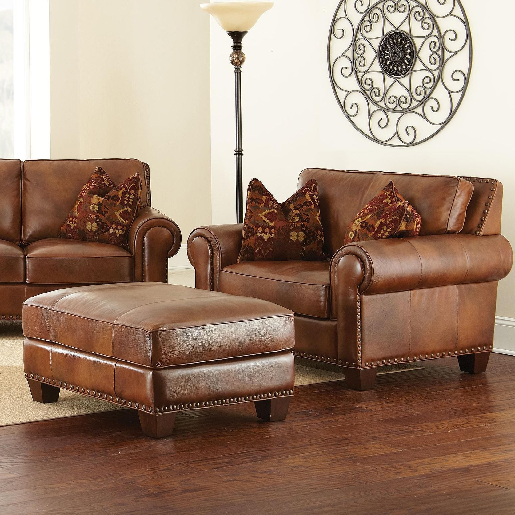 Steve Silver Silverado Chair And A Half With Ottoman And Nailhead