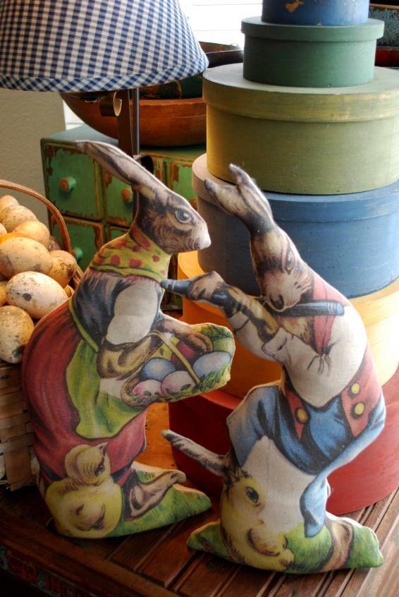 Vintage Easter Mr. Mrs. Rabbit Soft Sculpture Decor