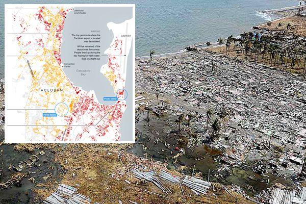 De verwoesting van de tyfoon Haiyan op de Filipijnen in kaart gebracht.