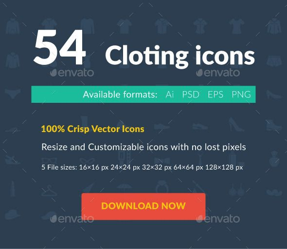 54 Clothing Icons Icon Flat Icon Vector Icons
