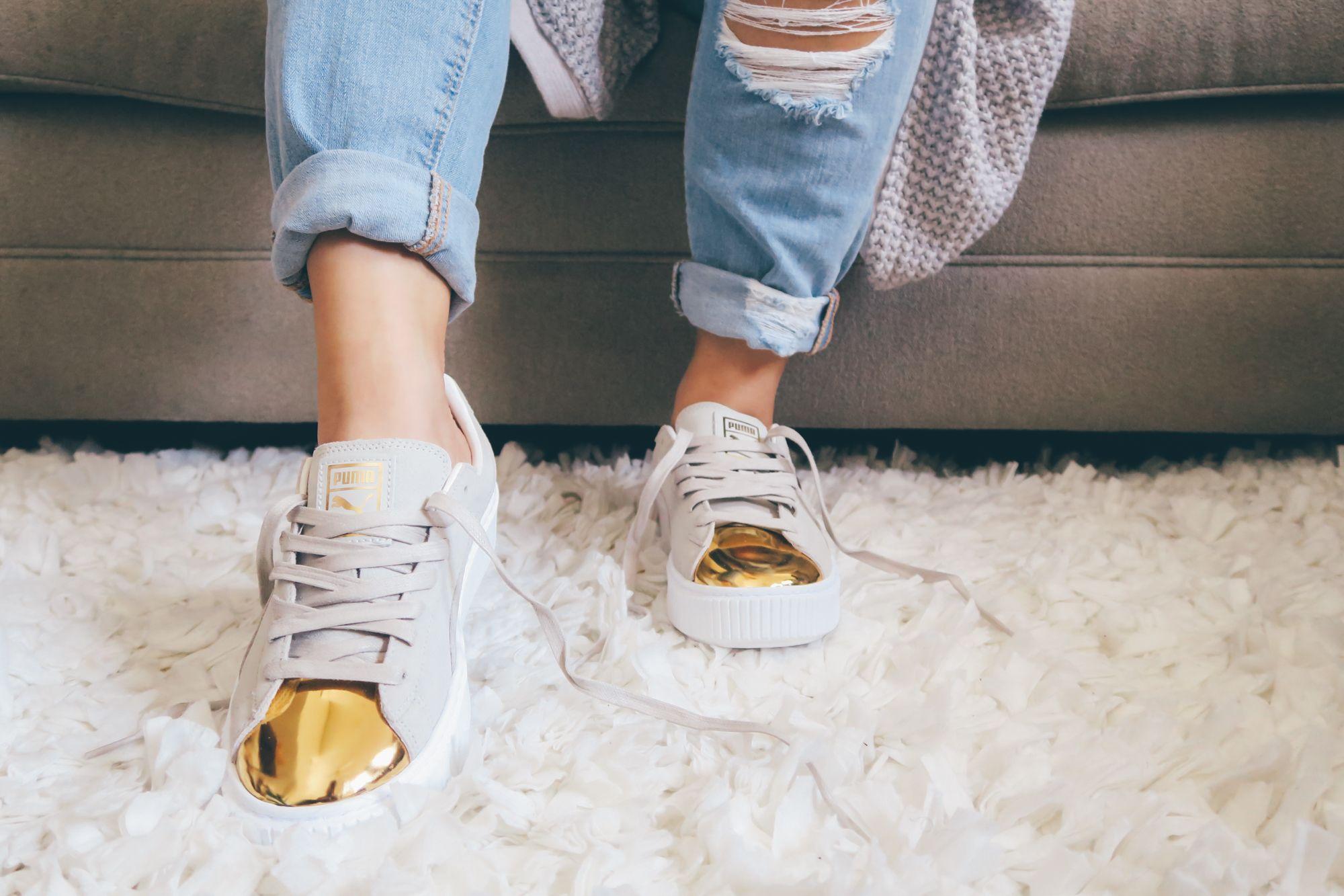 puma suede platform gold toe pack