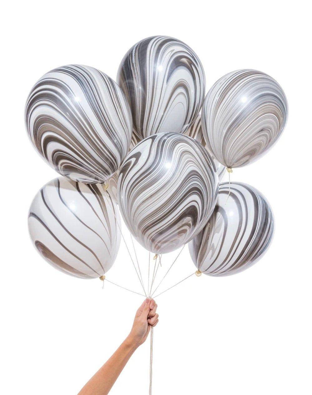 Black & White Marble Balloons Set of 8 Balloons 11 inch