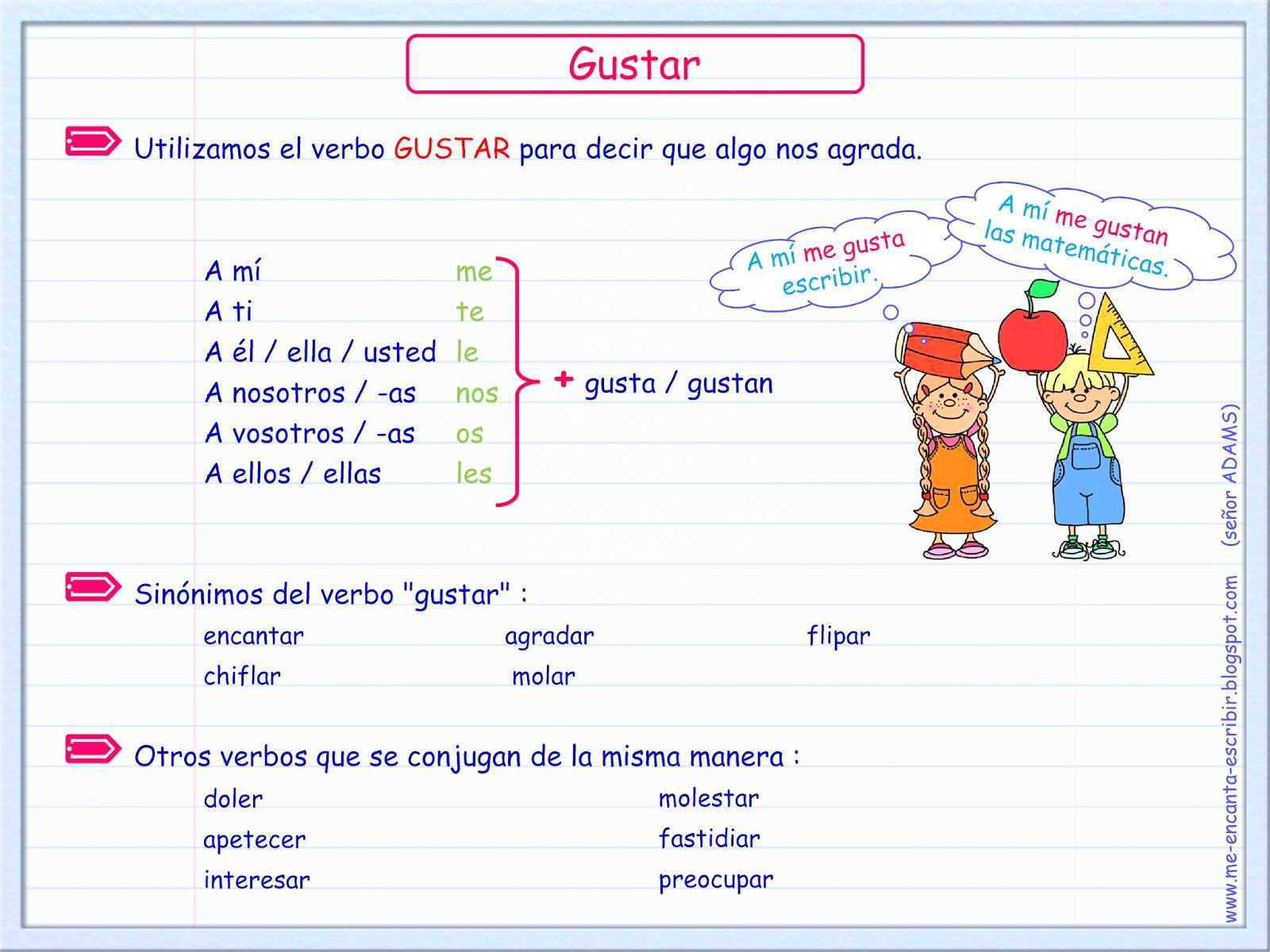 Me encanta escribir en español: El verbo GUSTAR | Projects to Try ...