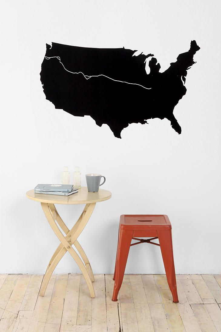 USA Map Chalkboard Wall Decal From Urban Outfitters - Us map chalkboard