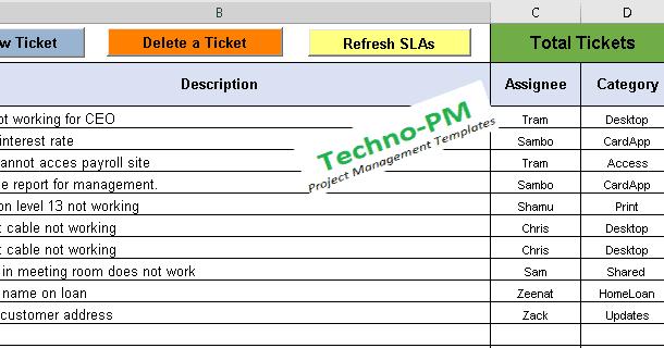 Help Desk Ticket Tracker Excel Spreadsheet Help Desk Business Rules Excel