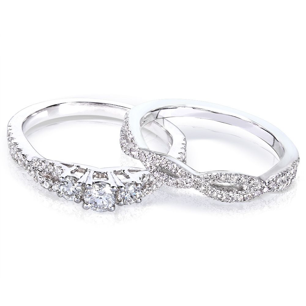 Annello 14k Gold 1/2ct TDW Diamond Braided Bridal Rings Set (H-I, I1-I2) - Overstock™ Shopping - Top Rated Annello Bridal Sets
