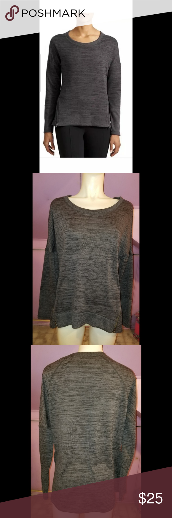 Athleta Blissful Sharkbite Side Zip  Sweatshirt Athleta Size large Blissful Sharkbite Side Zip Heather Gray Sweatshirt Scoop neck. Gently use with no flaws. Athleta Sweaters #myposhpicks