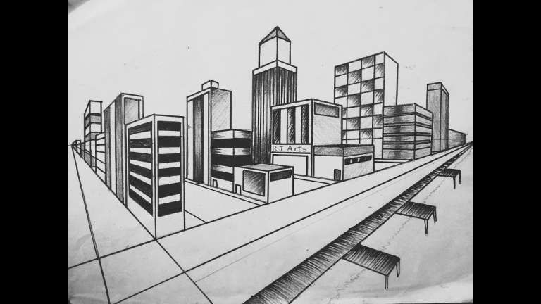 17 Drawing City Landscape Perspective Scenery Drawing In 2020 Landscape Drawings Drawing Scenery City Drawing