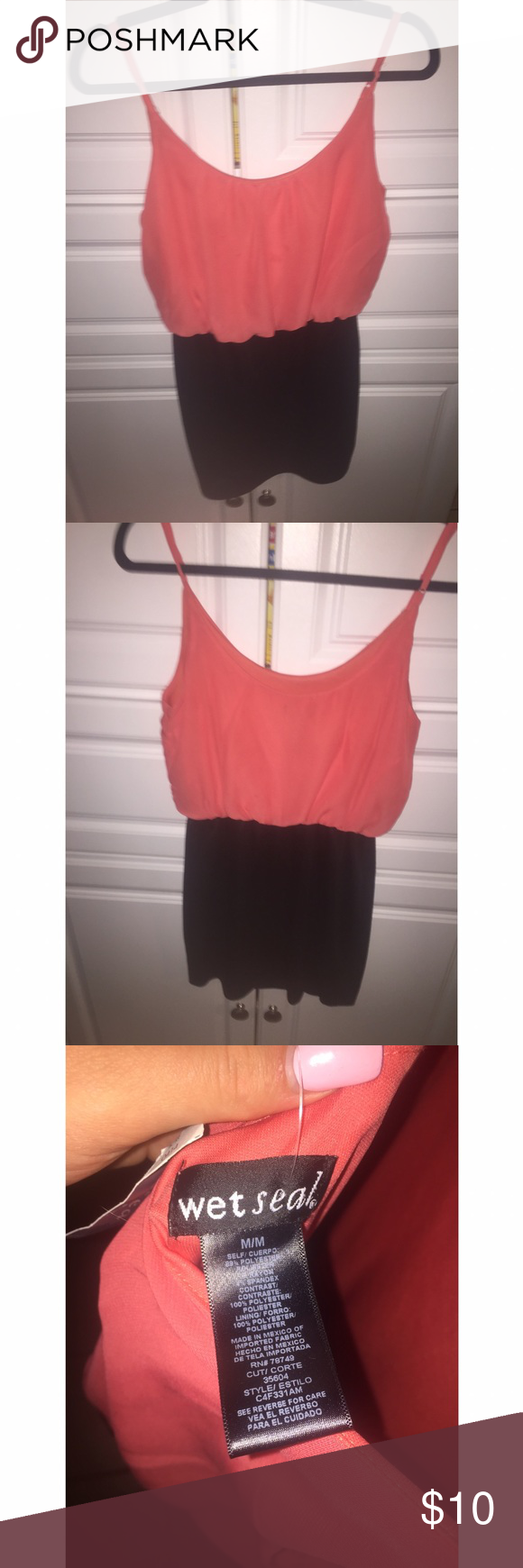 NWT Coral Party/Clubbing Dress🎉 ◾️Size: Medium ◾️Slight Spot that can probably be removed by washing  ◾️Color: Coral ◾️Brand: Wet Seal ◾️Worn: Never/ New With Tags ◾️ Manufacturing Country: Mexico of Imported Goods ◾️ Made of: 89% Polyester, 7% Rayon and 4% Spandex. Lining 100% Polyester ◾️No trades  ◾️Feel free to ask any questions💕 ◾️Ships out same or next day Wet Seal Dresses Mini