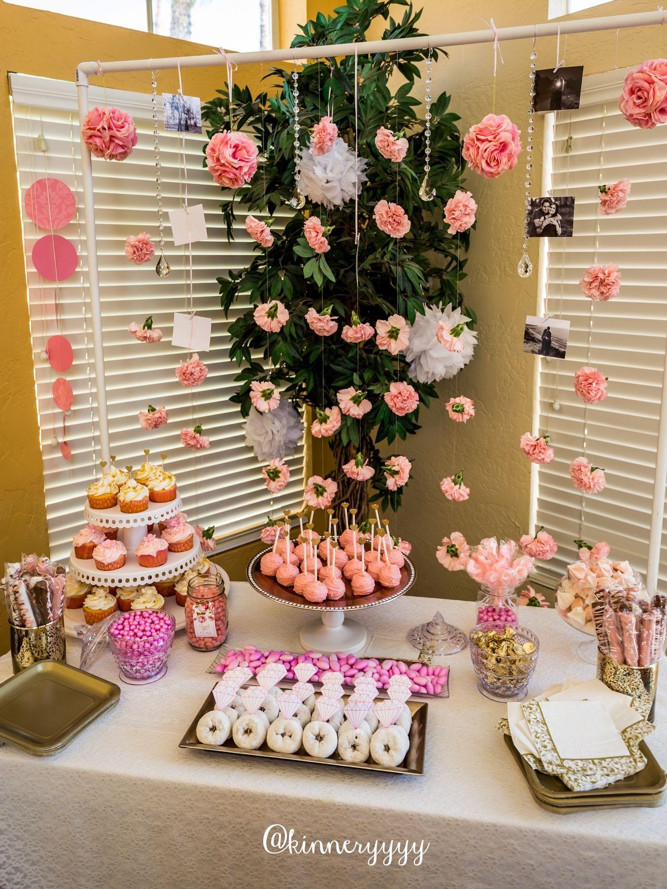 pink gold floral bridal shower dessert table carnation