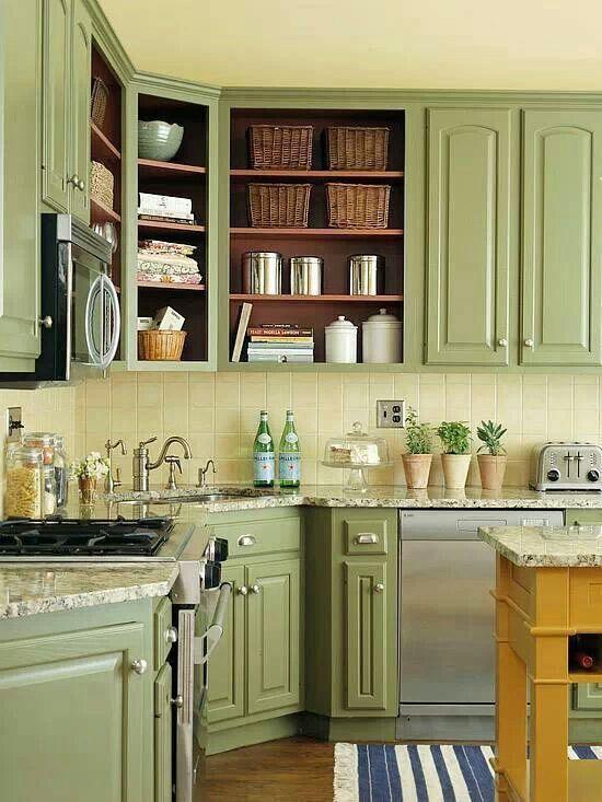 Colored cabinets: sage | Fix my kitchen | Pinterest