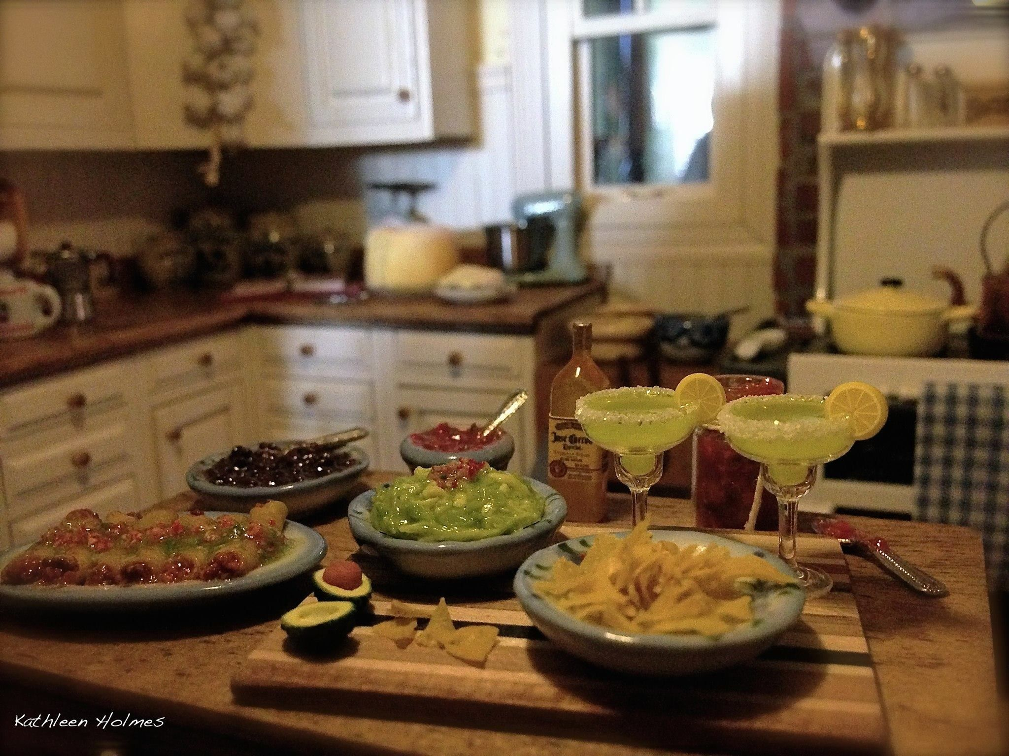 Mexican meal in Kathleen Holmes dollhouse kitchen