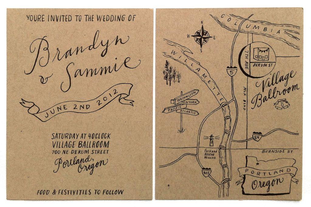 Brandyn Sammie Wedding Invitation Hand Drawn Wedding Invitations Photo Wedding Invitations Map Wedding Invitation