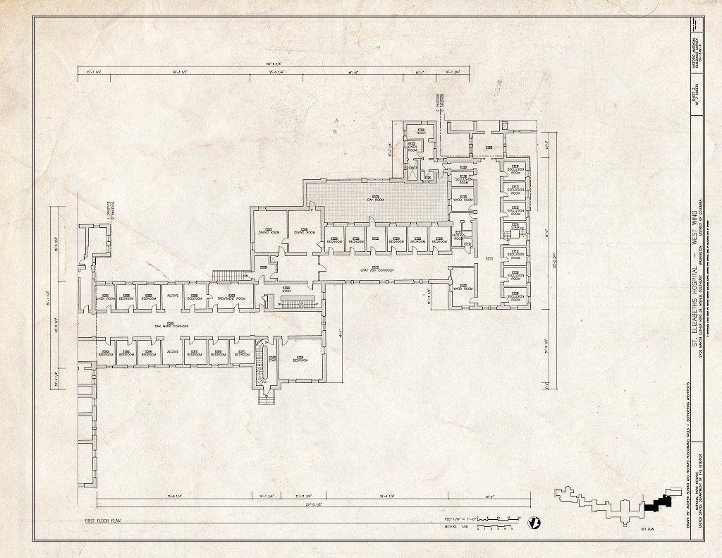 Blueprint 2 First Floor Plan St Elizabeths Hospital West Wing 539 559 Cedar Drive Southeast Washington District of Columbia DC