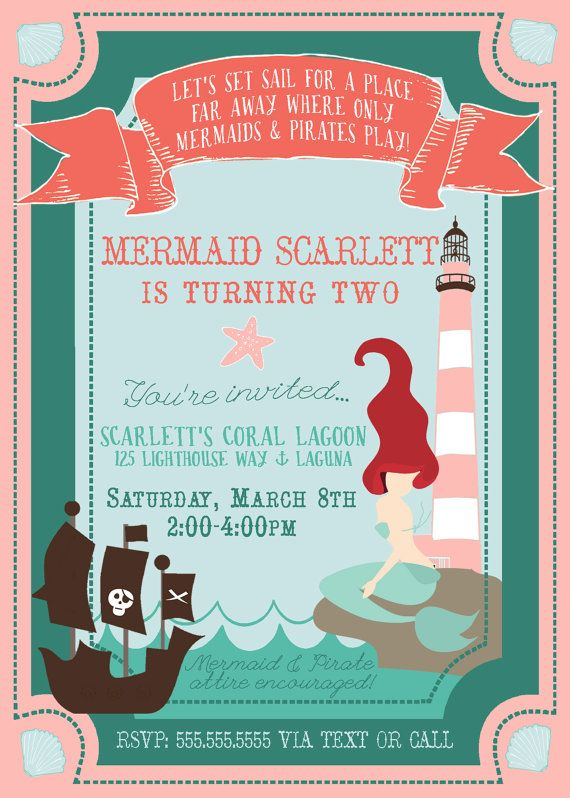 Mermaid Pirate Party Invite Party It Up Pirate Party