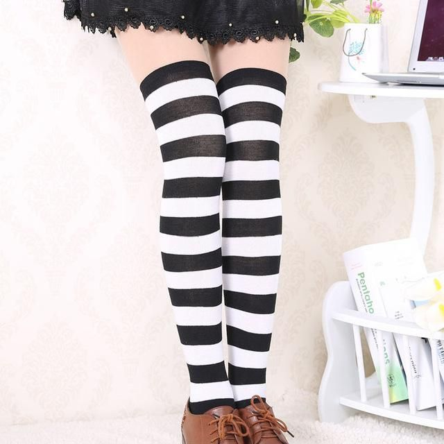 909e313f7 Hot New Sexy Women Girl Striped Cotton Thigh High Stocking Over the Knee  Socks Fashion Stockings For Dating Cosplay Cheap F1