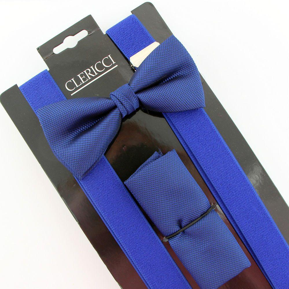 Blue weave mens bow tie suspenders hanky prom wedding