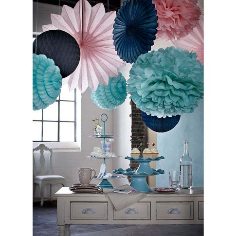 papier deko in f cherblume rosa kugel mint f cherblume petrol bei impressionen hochzeit. Black Bedroom Furniture Sets. Home Design Ideas