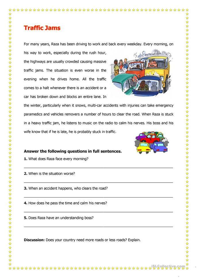 Traffic Jam Comprehension Worksheet Free Reading Worksheets Essay