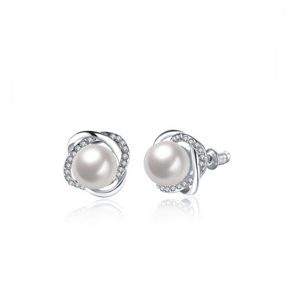 Rhinestone And Faux Pearl Design Stud Earrings 9 Mad Liked On Polyvore Featuring