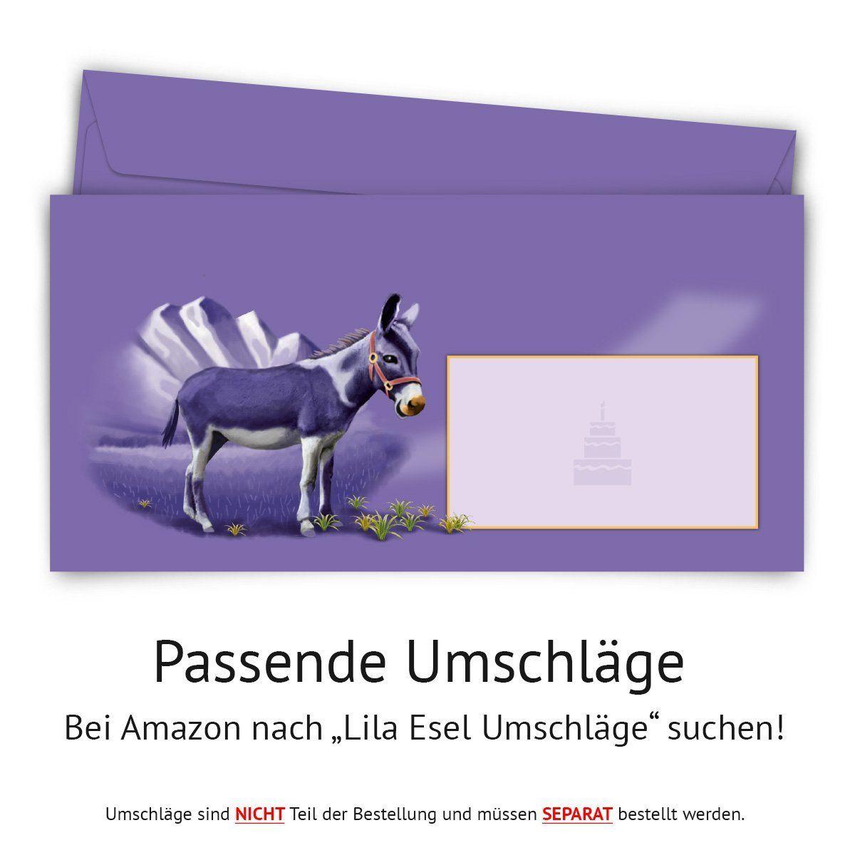 Einladungskarten zum Geburtstag 50 Stück lila Esel Schokolade