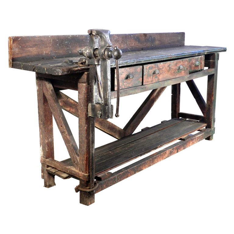 Remarkable Early Workbench With Amazing Patina Customarchery Wood Chair Design Ideas Customarcherynet